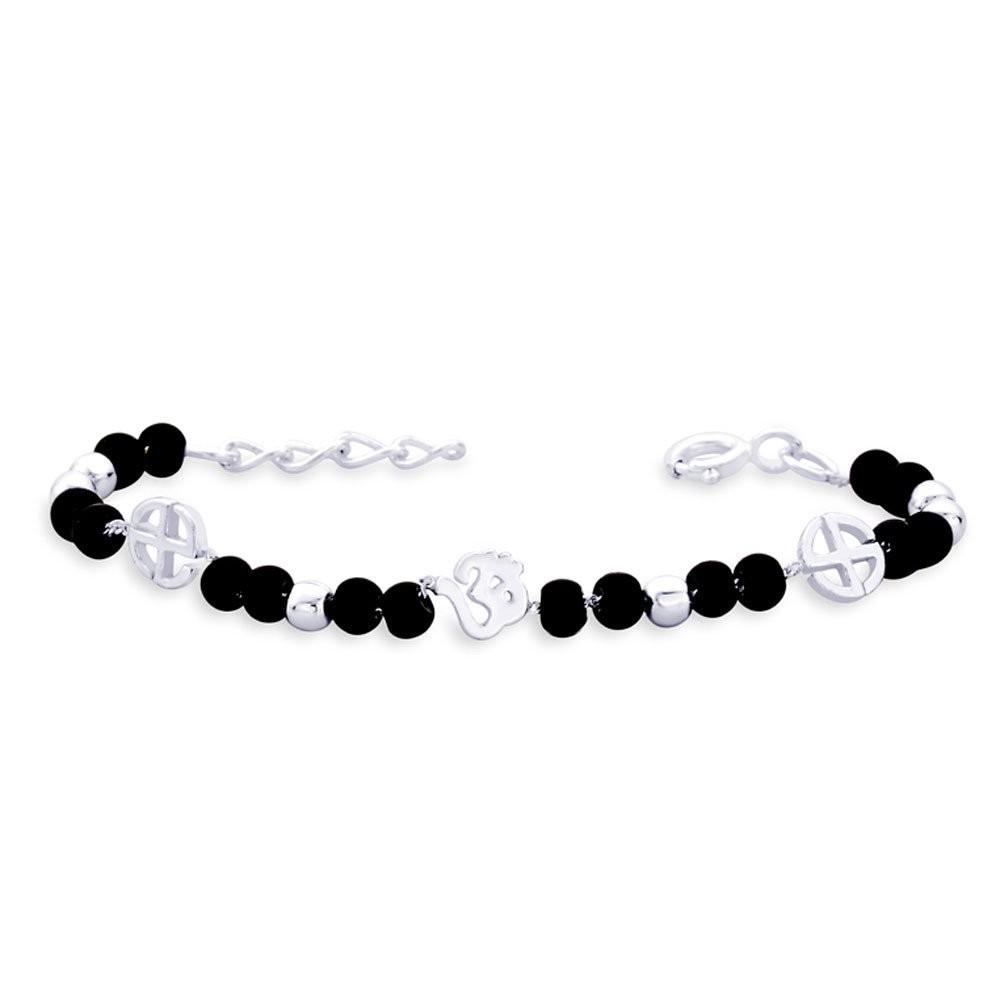 875d8d764578e Om and black Bead 925 Sterling Silver Bracelet for Kids JOCBR1103S
