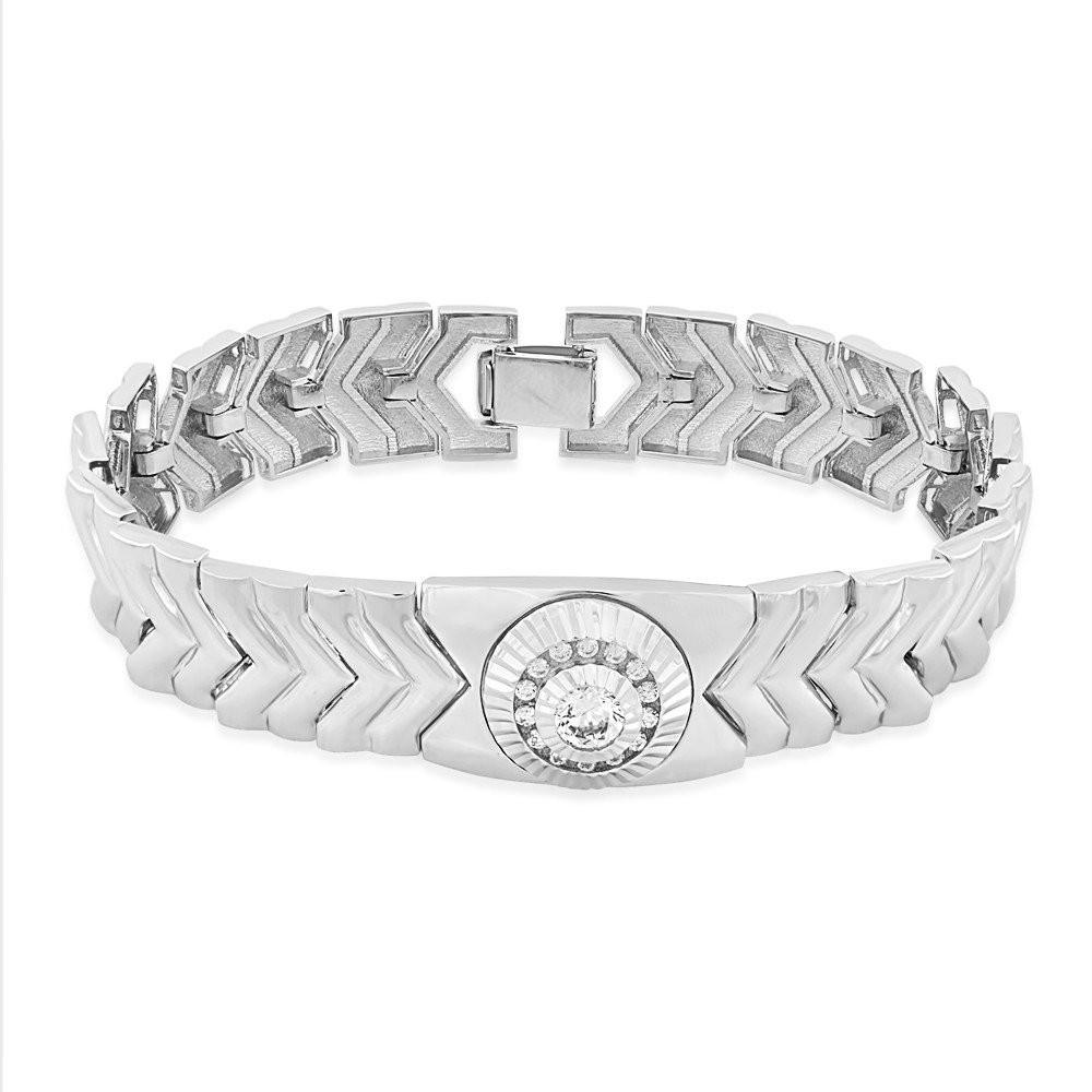 925 Sterling Silver Cz Interlock Link Chain Bracelet For Men BR1323R  JOCBR1323R