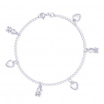 Hearts & Teddy Bear Charms 925 Sterling Silver Bracelet For Women JOCBR0502S
