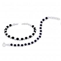 Black Bead 925 Sterling Silver Set of two Bracelet for Kids JOCBR0831S-1