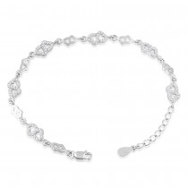 925 Sterling Silver Double Heart Fancy Link Bracelet For Women BR1279R JOCBR1279R