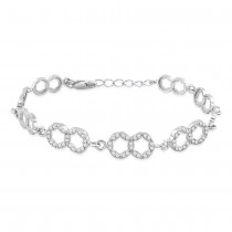 925 Sterling Silver CZ And Modest Double Circle Link Bracelet For Women BR1284R JOCBR1284R