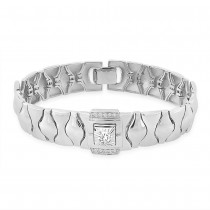 925 Sterling Silver CZ With Interlock Link Bracelet For Men BR1322R JOCBR1322R