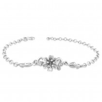 925 Sterling Silver floral With Rolo Chain Bracelet For Women BR1325R JOCBR1325R