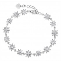925 Sterling Silver CZ Embellished Floral Bracelet For Women BR1349R JOCBR1349R