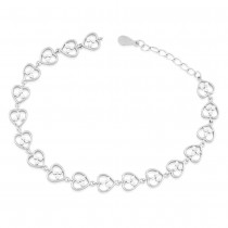 925 Sterling Silver CZ Adorn Heart Link Bracelet For Women BR1354R JOCBR1354R