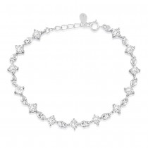 925 Sterling Silver Heart Lock Link CZ Bracelet For Women BR1355R JOCBR1355R