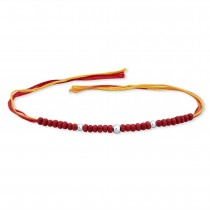 925 Silver three Ball with wooden beads Thread Rakhi JOCBRR0304S