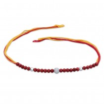 925 Sterling Silver three Ball with wooden beads Thread Rakhi JOCBRR0314S