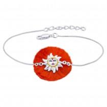 925 Sterling Silver Smiling Sun Bracelet Rakhi with Enamel JOCBRR0355S