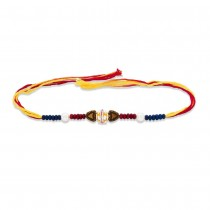 925 Sterling Silver One Ball with Wooden Beads Thread Rakhi JOCBRR0392S
