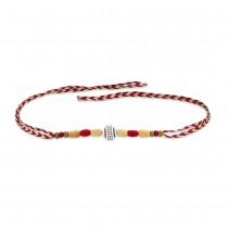 925 Sterling Silver One Ball with Wooden Beads Thread Rakhi JOCBRR0397S