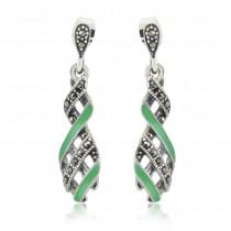Xcite Green Enamel Classy Look Drop Dangle Earrings for Womens JOCBYER052G