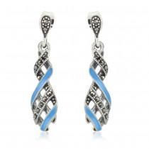 Xcite Blue Enamel Ravishing Look Drop Dangle Earrings for Womens JOCBYER052SB