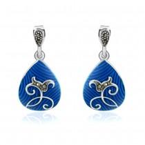 Xcite Oval shape blue color earrings for Women JOCBYER053BU