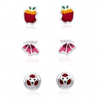 925 Silver Apple,Butterfly & Monky Face Earrings Combo JOCCBER133I-002