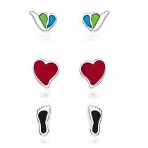 Snale, Heart & Footprint Shape .925 Silver Combo Earrings JOCCBER133I-006