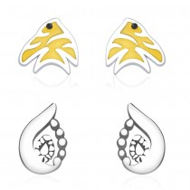 925 Sterling Silver Combo Set of Fish & Abstract Earrings for Kids JOCCBER134136-03