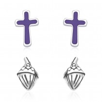 925 Sterling Silver Combo Set of Cross & Icecream symbols of Earrings for Kids  JOCCBER134136-04