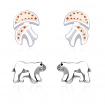 925 Sterling Silver Combo Set of Mushroom and Abstract Earrings for Kids  JOCCBER134136-18