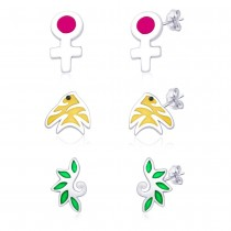 Combo Of 3 Baby Earrings With Fish,Leaf And Venus Sign Designs JOCCBER136-002