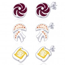 Combo Of 3 Baby Earrings With Mashroom,Flower And Square Shapes  JOCCBER136-003