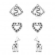 925 Sterling Silver Kids Combo of Heart,Giraffe and abstract designs earrings  JOCCBER137I-001