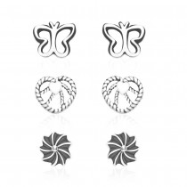 925 Sterling Silver Kids Combo of Heart,Butterfly and Floral designs earrings  JOCCBER137I-002
