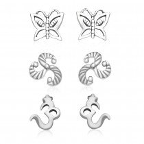925 Sterling Silver Kids Combo of Om,Butterfly and abstract designs earrings JOCCBER137I-003