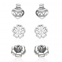 925 Sterling Silver Kids Combo of Floral and Kailesh designs earrings  JOCCBER137I-005