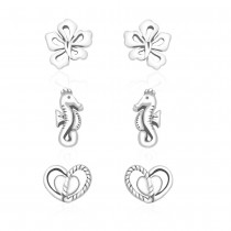 925 Sterling Silver Kids Combo of Heart,Seahorse and Floral designs earrings  JOCCBER137I-006