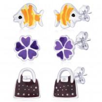 925 Silver Combo of Fish,Flower & Lock Earrings For Kids JOCCBER152I-001