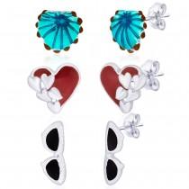 925 Sterling Silver Earrings Combo of Shell,Heart and Glass JOCCBER152I-004