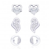 925 Sterling Silver Combo of Abstract and Floral designs earrings for Women JOCCBER155I-002
