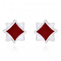 Double Square shape Red Enamel 925 Sterling Silver Stud Earring For Women JOCCBER203I-02