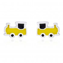 Yellow & Black enamel with Railway Engine Stud 925 Sterling Silver Earring For Women JOCCBER203I-05
