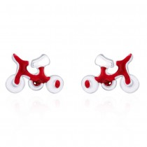Bicycle shaped Red Enamel Stud 925 Sterling Silver Earring For Women  JOCCBER203I-06