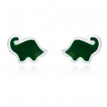 Highlighted Green Enamel Elephant Shaped Stud 925 Sterling Silver Earring For Women JOCCBER203I-08