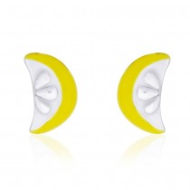 Yellow Enamel with in a Cute lemon Half-Slice Design Stud 925 Sterling Silver Earring For Women JOCCBER203I-10