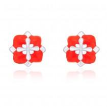 Floral Design with Orange Enamel Highlighted Stud 925 Sterling Silver Earring For Women JOCCBER203I-11