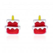 Red & Yellow Enamel with Cake Design Stud 925 Sterling Silver Earring For Women JOCCBER203I-12