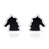 Horse Shape with Black Enamel Stud 925 Sterling Silver Earring For Women JOCCBER203I-13