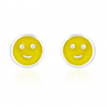Round Smiley Shape with Yellow Enamel Stud 925 Sterling Silver Earring For Women JOCCBER203I-15