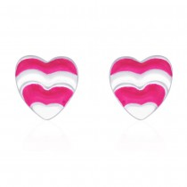 Heart shape with Baby Pink Enamel Stud 925 Sterling Silver Earring For Women JOCCBER203I-16