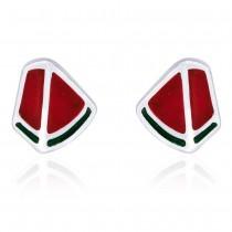 Red & Green Enamel with Geometric Design Stud 925 Sterling Silver Earring For Women JOCCBER203I-17