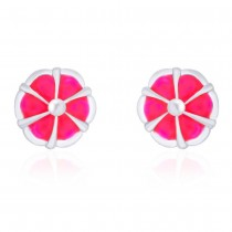 Floral Design Pink Highlighted Enamel Stud 925 Sterling Silver Earring For Women JOCCBER203I-18
