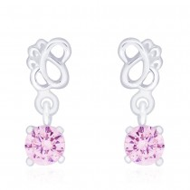925 Sterling Silver Pink CZ Drop Earrings for Women JOCCBER240I-08