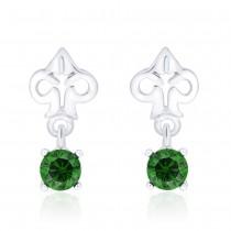 925 Sterling Silver Floral CZ Drop Earrings for Women JOCCBER240I-09