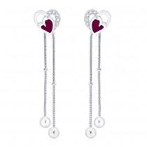 925 sterling silver Heart Design Drop Earrings for Women JOCCBER266I-01