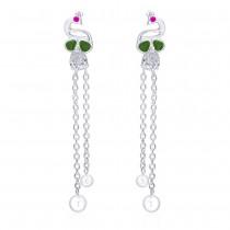 925 sterling silver Peacock Style Drop Earrings for Women JOCCBER266I-04
